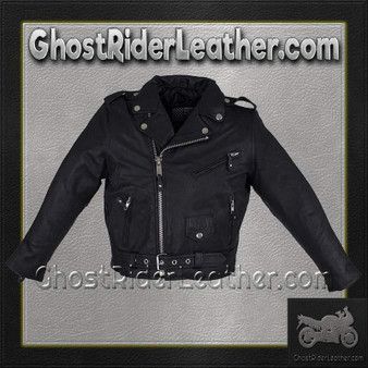 Kids Leather Motorcycle Jacket - Teens Leather Motorcycle Biker Jacket / SKU GRL-KD342-TEEN-DL
