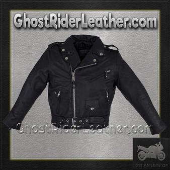 Kids Leather Motorcycle Jacket - Teens Leather Motorcycle Biker Jacket / SKU KD342-TEEN-DL