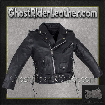Kids Leather Motorcycle Jacket - Teens Leather Motorcycle Biker Jacket with Side Laces / SKU GRL-KD344-TEEN-DL