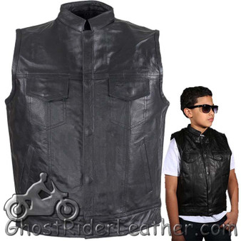 Kids Motorcycle Leather Club Vest - SKU GRL-KD320-DL