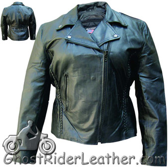 Ladies Biker Leather Jacket With Braid Trim - SKU AL2103-AL