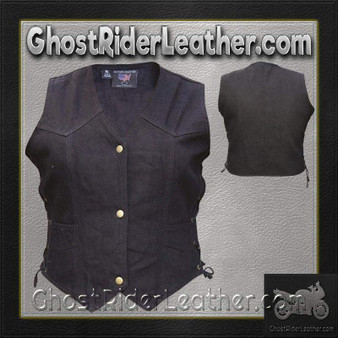Ladies Black Denim Vest with Side Laces / SKU GRL-AL2981-AL