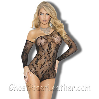 Ladies Black Floral Pattern Fishnet Teddy WIth Matching Gloves - SKU GRL-1147-1147Q-EML