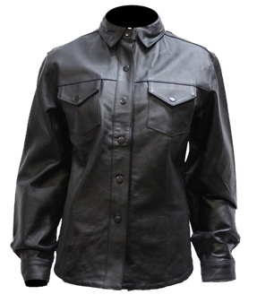 Women's Black Leather Shirt with Snap Closure - SKU LJ276-BLK-DL