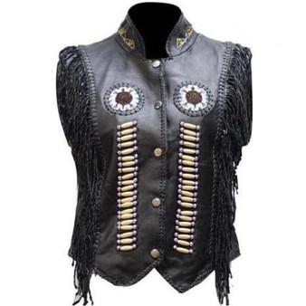 Women's Black Leather Western Style Beadwork and Bones Vest - SKU LV428-DL