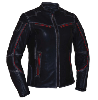 Ladies Black With Red Trim Durango Leather Jacket with Concealed Carry Pockets - SKU 6833.01-UN