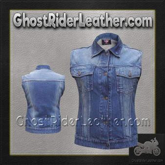 Ladies Blue Denim Vest with Rub Off Front and Back / SKU GRL-AL2991-AL