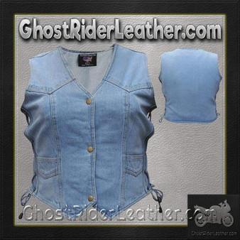Ladies Blue Denim Vest with Side Laces / SKU GRL-AL2980-AL
