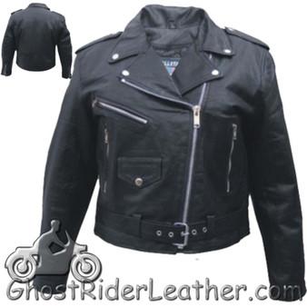 Ladies Classic Biker Leather Jacket Lightweight - SKU AL2100-LIGHT-AL