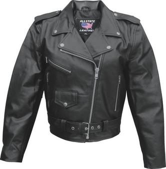Ladies Classic Biker Leather Jacket - Split Cowhide - SKU AL2101-AL