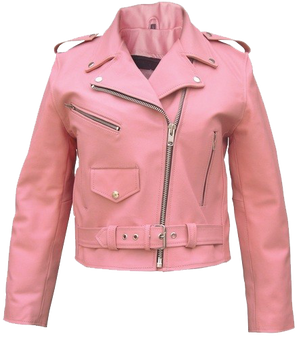 Ladies Classic Biker Pink Leather Jacket - SKU AL2120-AL