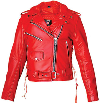 Ladies Classic Biker Red Leather Motorcycle Jacket - SKU AL2122-AL