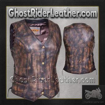 Ladies Concealed Carry Nevada Brown Naked Leather Vest - SKU GRL-2659.ABR-UN