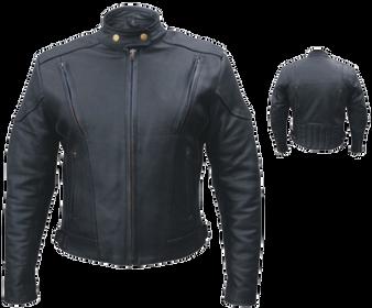 Ladies Euro Racer Biker Leather Jacket With Vents - SKU AL2145-AL