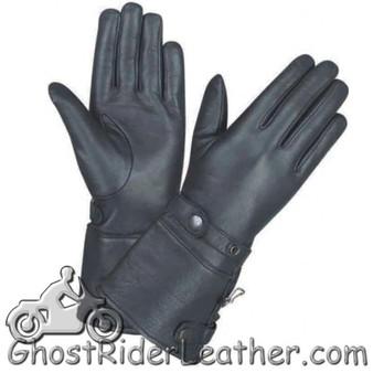 Ladies Full Finger Leather Gauntlet Motorcycle Riding Gloves - SKU GRL-1491.00-UN