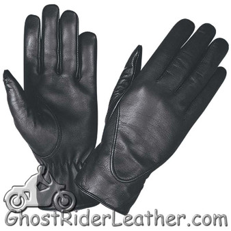 Ladies Full Finger Leather Motorcycle Riding Gloves - SKU GRL-1265.00-UN