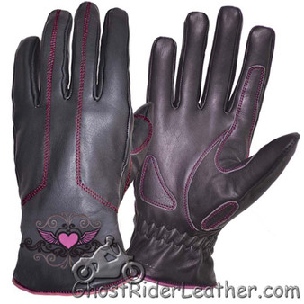 Ladies Full Finger Leather Motorcycle Riding Gloves With Hot Pink Piping - SKU GRL-8144.24-UN