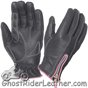 Ladies Full Finger Leather Motorcycle Riding Gloves With Hot Pink Piping - SKU GRL-8261.24-UN