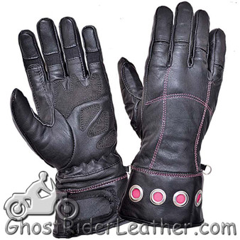 Ladies Full Finger Leather Motorcycle Riding Gloves With Hot Pink Stitching - SKU GRL-8332.24-UN