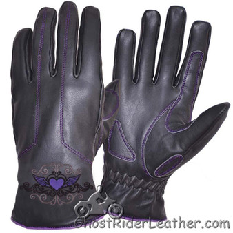 Ladies Full Finger Leather Motorcycle Riding Gloves With Purple Stitching - SKU GRL-8144.17-UN