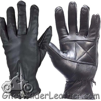 Ladies Full Finger Zipper Leather Riding Driving Gloves - SKU GL2081-DL