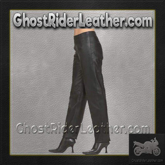 Ladies Hip Hugger Straight Leg Leather Pants - SKU GRL-C503-DL