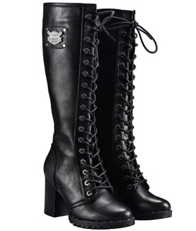 Ladies Knee High Motorcycle Boots With Chunky Heel and Zipper - SKU GRL-MR-BTL7006-DL