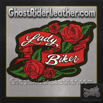 Ladies Lady Biker With Roses Patch / SKU GRL-PAT-A57-DL