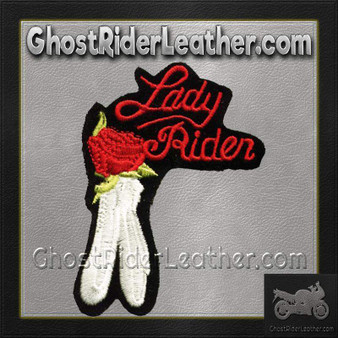 Ladies Lady Rider With Red Rose Patch / SKU GRL-PAT-C210-DL