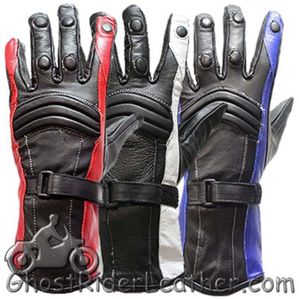 Ladies Leather Gauntlet Gloves in Red White or Blue - SKU GLZ60-DL