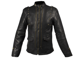 Ladies Leather Jacket With Brass Studs On Front and Back - SKU LJ214-DL