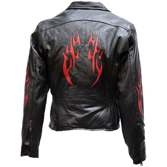 Women's Leather Motorcycle Jacket with Red Flames - SKU LJ254-DL