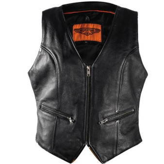 Ladies Leather Motorcycle Zipper Vest with Concealed Carry Pockets - SKU GRL-LV8507-DL