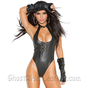 Ladies Leather Teddy With Buckle Front Detail and Thong Back - SKU GRL-L2256-EML