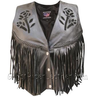 Women's Leather Vest with Black Rose - Braid - Fringe - SKU AL2307-AL