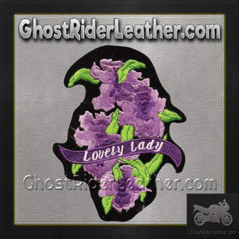Ladies Lovely Lady Rider With Purple Flowers Patch / SKU GRL-PAT-C208-DL