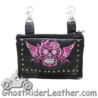 Ladies Naked Leather Belt Bag with Pink Sugar Skull Design - Handbag - SKU GRL-BAG35-EBL19-PINK-DL