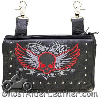 Ladies Naked Leather Belt Bag with Red Flying Skull Design - Handbag - SKU GRL-BAG35-EBL10-RED-DL