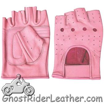 Ladies Pink Leather Fingerless Motorcycle Rider Gloves - SKU GRL-AL3012-AL