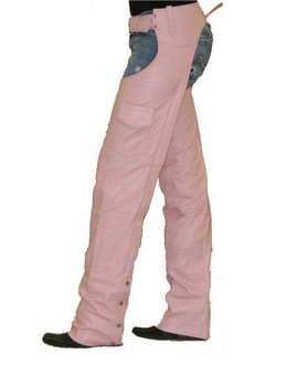 Ladies Pink Leather Motorcycle Chaps With Pocket  - SKU GRL-C325-PINK-DL