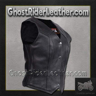 Women's Plain Leather Vest with Pleated Front and Back - SKU LV8502-DL
