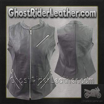 Ladies Premium Leather Zipper Motorcycle Vest / SKU GRL-VL1028-VL