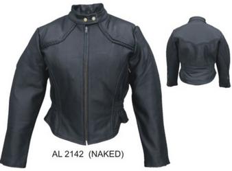 Ladies Racer Biker Leather Jacket With Braid Trim - SKU AL2142-AL