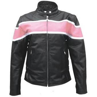 Ladies Racer Biker Leather Jacket With Pink Stripe - SKU AL2173-AL