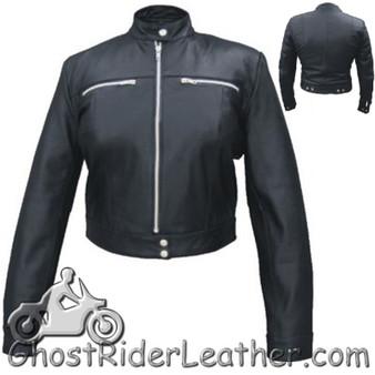 Ladies Racer Biker Leather Motorcycle Riding Jacket - SKU AL2181-AL