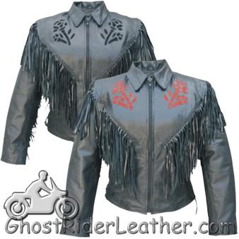 Ladies Red or Black Rose Fringe Leather Jacket - SKU AL2105-2106-AL
