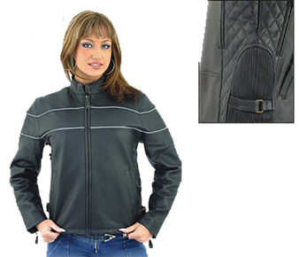 Ladies Reflective Piping Leather Racer Jacket with Air Vents - SKU LJ7900-DL