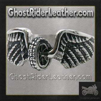 Ladies Stainless Steel Winged Wheel Ring / SKU GRL-VJ1042-VL