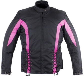 Ladies Textile Racing Jacket In Black and Pink - SKU LJ266-CCN-PINK-DL