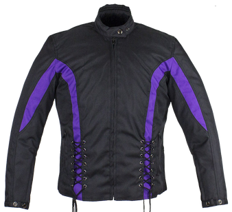 Ladies Textile Racing Jacket In Black and Purple - SKU LJ266-CCN-PURP-DL